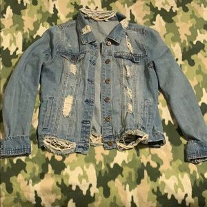 Jackets & Blazers - Blue jean jacket/Faded and torn-size M (EUC)